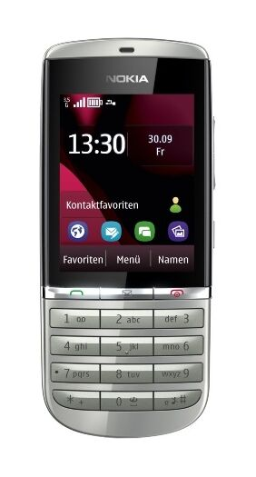 nokia asha 300 silber wei ohne simlock handy g nstig. Black Bedroom Furniture Sets. Home Design Ideas