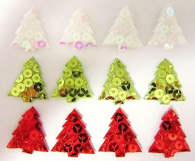 60 Sequin Christmas Tree Holiday Applique/Padded/Trim/Craft/Bow/Fabric/doll H412