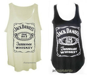 NEW-Ladies-JACK-DANIELS-Vest-Tank-Top-T-shirt-FREE-SIZE-CREME-or-BLACK