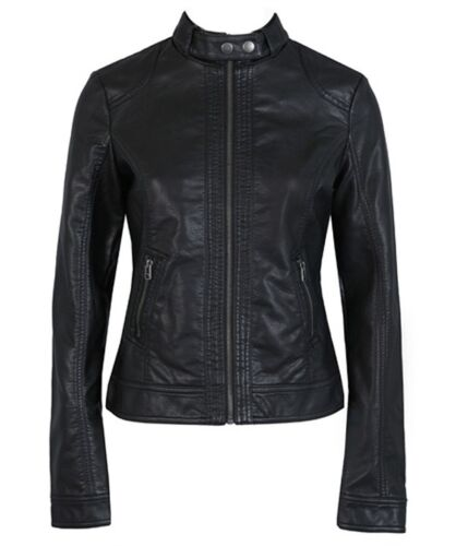 Womens Slim Fit Faux Leather Jacket Motorcycle Coat High Quality Black Outerwear