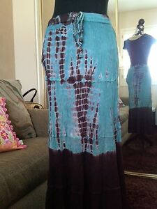Boho-Hippie-Gypsy-Broomstick-Crinkle-Skirt-Tie-Dye-Turquoise-Teal-Brown-SZ-S-New