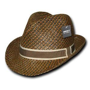 Dark-Brown-Woven-Braid-Straw-Hipster-Fedora-Fedoras-Hat-Hats-Band-Ribbon-Sz-S-M