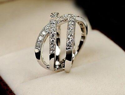 Elegant Jewelry 18K White Gold Gp Swarovski Crystal Cross Party Wedding Ring