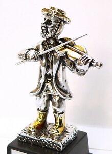Jewish Hassidic Klezmer Violin Player Figurine Silver Amp Gold