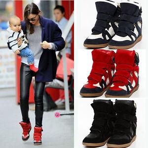 Ankle-Hi-Top-Women-039-s-Velcro-Wedge-Hidden-Heel-Sneaker-Boot-Trainer-Shoes-Eu35-41
