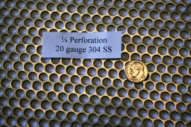 Perforated 304 Stainless Steel 1/4 inch hole, 20 gauge Price per 10 square inch