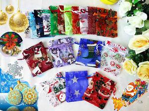 12-25-50-100PCS-Christmas-Organza-Bags-Gift-Favor-Pouches-10x7-5cm-4x3inch-AH11