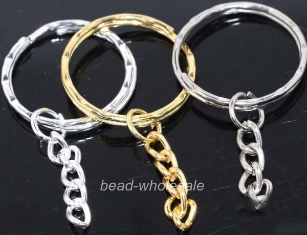 10pcs silver/golden plated key ring chain findings 30mm u pick colour