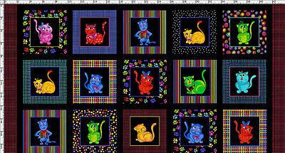 FABRIC Loralie Designs COOL CATS Rainbow Cat Kitten Kitty Black Cotton PANEL