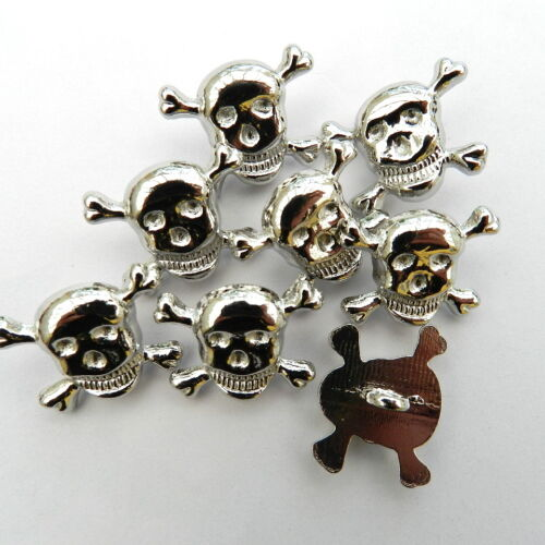 bronze shank on back 17mm x 11mm silver 5x skull /& crossbones buttons metal