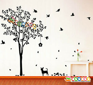 Wall-Decor-Decal-Sticker-Removable-vinyl-large-tree-DC0223-60-034-H-with-dog-birds