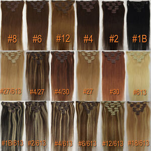 Any-Color-amp-Length-Clip-In-Human-Hair-Extensions-Real-Human-Hair-Free-Shipping-New