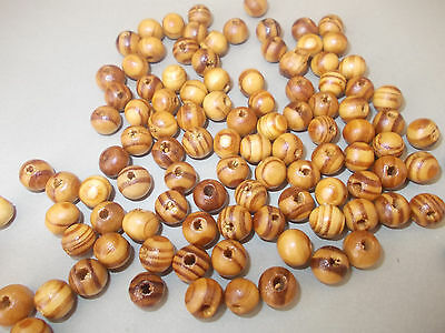 15g X 8MM WOODEN BURLYWOOD BEADS,BROWN WOOD COLOR, APPROX 100 ROUND DESIGN (L63)