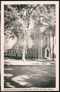 ST-ANDREWS-NEW-BRUNSWICK-CANADA-All-Saints-Church-Vintage-B-W-Postcard-Old-PC