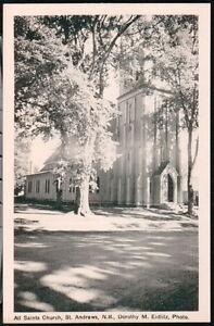 ST-ANDREWS-NEW-BRUNSWICK-CANADA-All-Saints-Church-Vintage-B-amp-W-Postcard-Old-PC