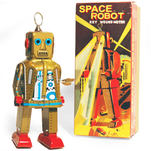 SPARKLING ROBOT - Retro Tin Collectable Ornament - Gold TMS403G