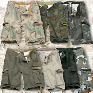 SURPLUS-VINTAGE-MENS-MILITARY-STYLE-ARMY-COMBAT-CARGO-SHORTS-100-WASHED-COTTON