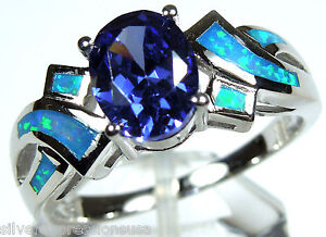 Tanzanite-and-Blue-Fire-Opal-Inlay-925-Sterling-Silver-Ring-size-6-7-8-9