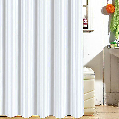 HOTEL SATIN STRIPED LARGE EXTRA LONG WIDE WHITE SHOWER CURTAIN 120 180 200 240