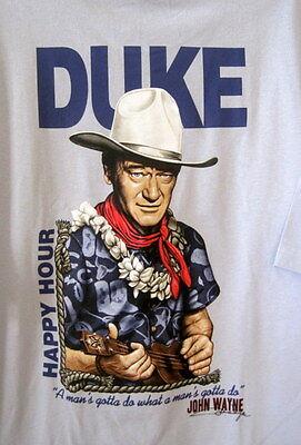 Duke,Mans Gotta Do,Happy Hour,John Wayne,Rick Rietveld,Large,Silver Gray,Tee
