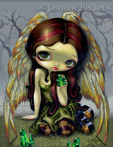 Angel-with-Emeralds-Jasmine-Becket-Griffith-CANVAS-PRINT-big-eyed-fairy-art-CUTE