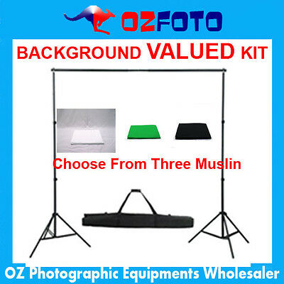 Photography Photo Studio Video  Muslin With Backdrop Background Stand Kit New