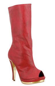 NEW RED PEEP TOE MID CALF HIGH GOLD HEEL PLATFORM WOMENS zipper BOOTS Size 5.5