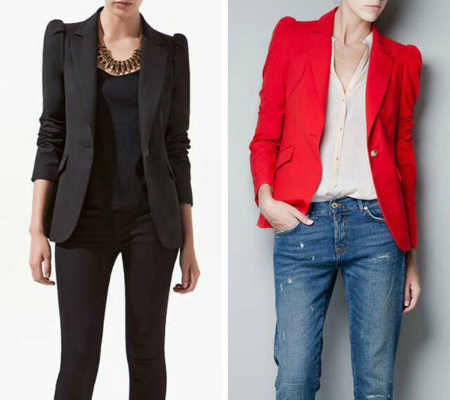 NWT Fashion Slim Basic One Button Padded Shoulder Suit Blazer Jacket XS S M #THZ