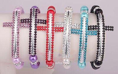Glass pearl&Crystal Sideway corresponding Crystal Cross elastic Bracelet