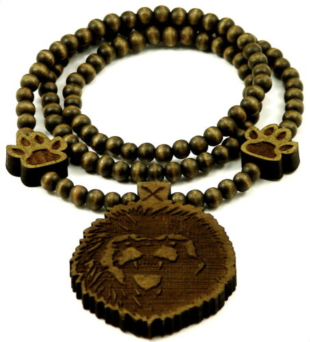 Lion Head Necklace With Paws New Good Wood Style Pendant And 36 Inch Bead Chain