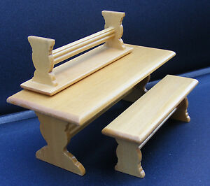 12th-Scale-Table-amp-2-Benches-Dolls-House-Miniature-Furniture-Bar-Pub-Tavern