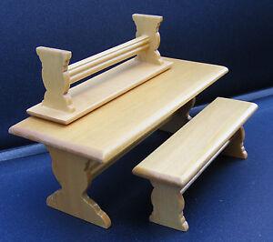 12th-Scale-Table-2-Benches-Dolls-House-Miniature-Furniture-Bar-Pub-Tavern