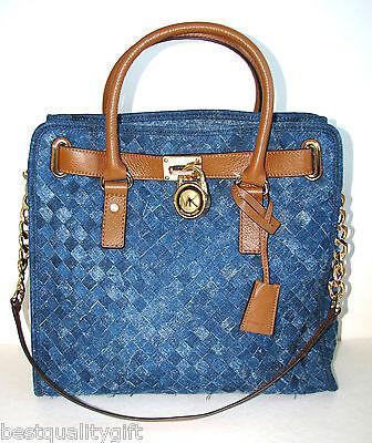 NEW MICHAEL KORS HAMILTON  WOVEN BLUE DENIM,LUGGAGE LG N/S TOTE HAND BAG, PURSE