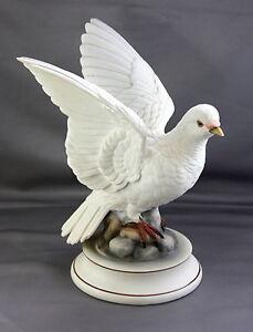 Beautiful-9-034-Large-White-Dove-Andrea-by-Sadek-Porcelain-Figurine-Vintage-Bird