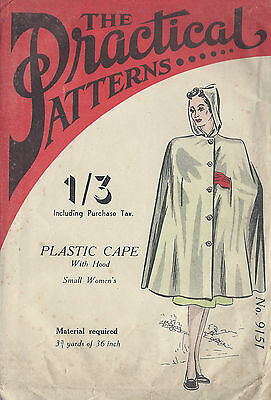 1940s Vintage Sewing Pattern CAPE SMALL (R620)