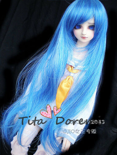 "1/3 8-9"" Dal Pullip BJD SD DZ DOD LUTS dollfie Doll long blue wig hair E62"