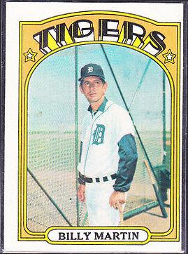 1972 Topps Billy Martin Detroit Tigers 33 Baseball Card For Sale Online Ebay