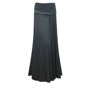 "STUNNING MAXI BLACK FULL LENGTH 42"" LONG SKIRT UK SIZE 10 12 14 16 ..."