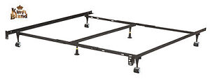 heavy duty 6 leg adjustable universal metal bed frame with double center support ebay. Black Bedroom Furniture Sets. Home Design Ideas