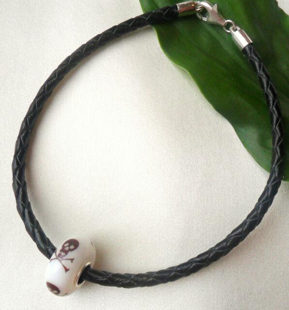 925 Silver Real Black Leather Bracelet + Skull & Crossbones Bead Great Gift