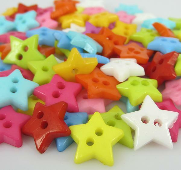 """300pcs 1/2"""" Mixed Color Star Nylon Buttons Fit Sewing Scrapbooking buttons"""