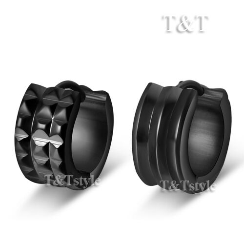 T&T Black Stainless Steel Two Sided Thick Hoop Earrings (EH94D)