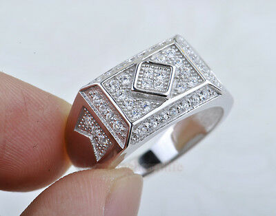 Men's ring Micro Pave Prong Set AAA Hip Hop CZ 2015 Sterling Silver Ring BJ12