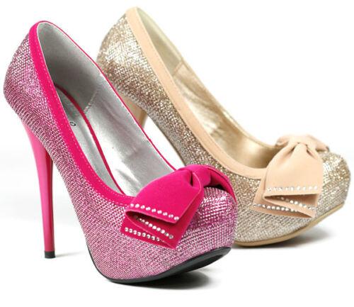 Bow Glitter Stilleto Heel Platform Pump Qupid Neutral-317 Beige Pink