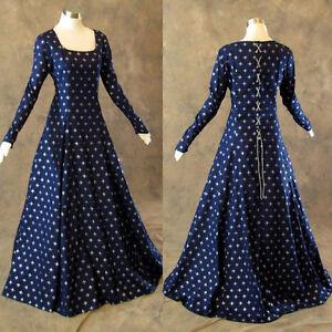 Medieval-Renaissance-Gown-Navy-Silver-Fleur-De-Lis-Dress-Costume-LOTR-Wedding-M