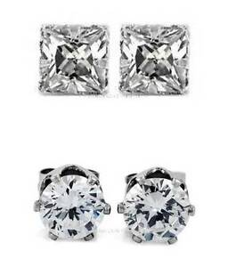 2-PAIRS-CZ-CLEAR-ROUND-SQUARE-MAGNETIC-STUD-EARRINGS-Men-Women
