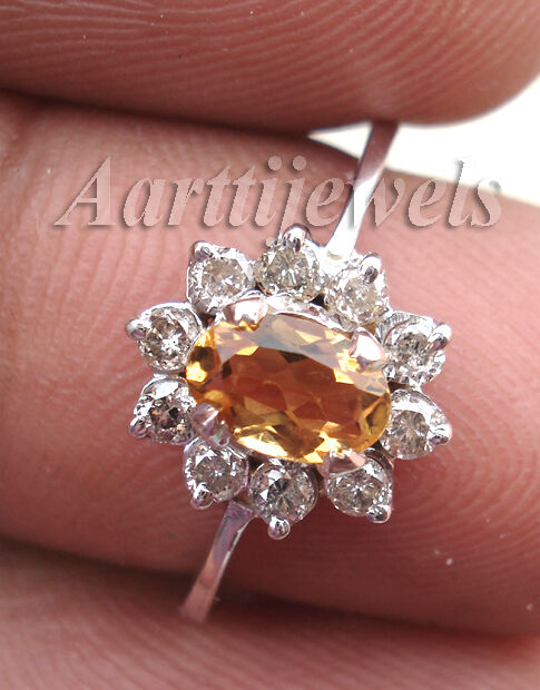 0.35ct Diamond Golden Topaz 14k Gold Wedding Women's Ring Christmas Holidays