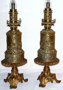 Pair-mid-1800-Renaissance-moderator-oil-lamp-orig-burners-never-electrified