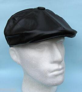 Flat-Cap-Baker-Boy-Gatsby-Leather-Look-Waterproof-Black