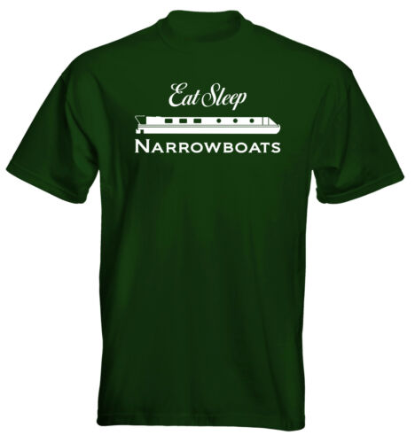 Velocitee Mens Premium T-Shirt Eat Sleep Narrowboat Colour Options Canals